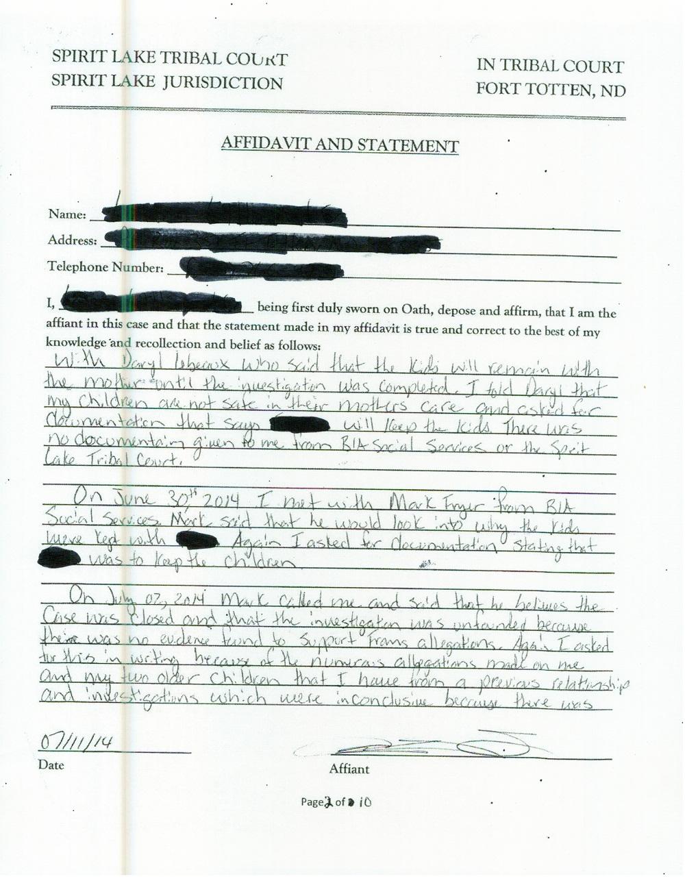 10 Page Affidavit July 11 2014 - page 2
