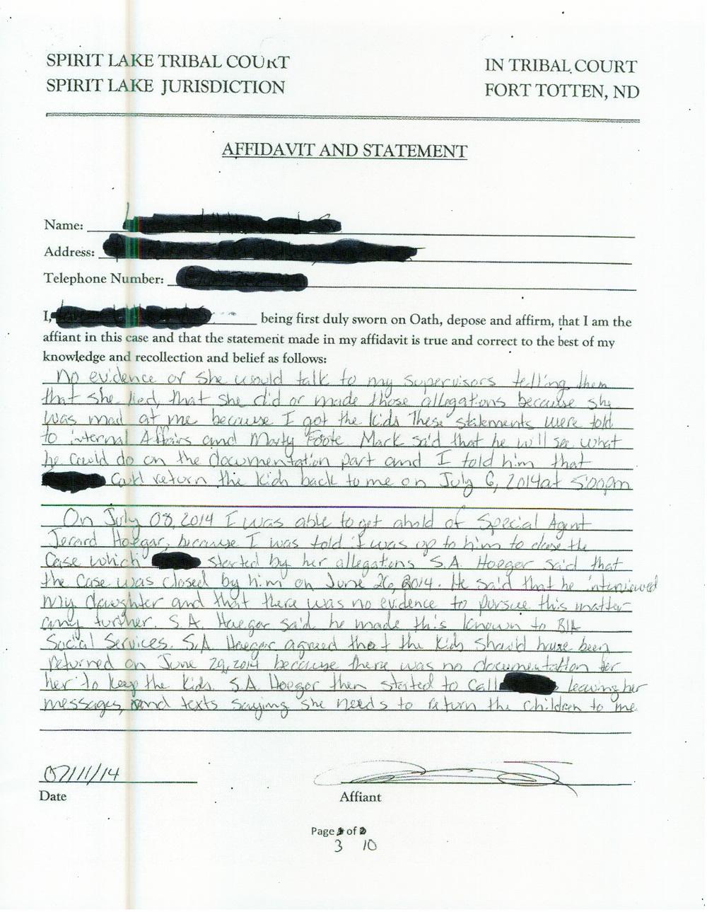 10 Page Affidavit July 11 2014 - page 3