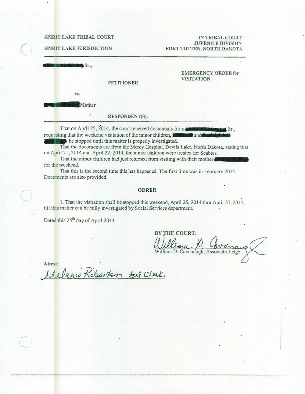 Emergency Visitation order, redacted April 25, 2014